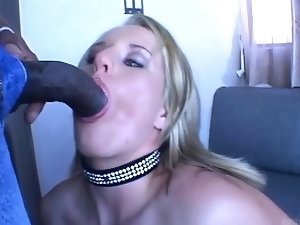 Submissive blonde babe sucks giant black cock