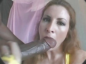chick sucks huge cock for mouthful of cum