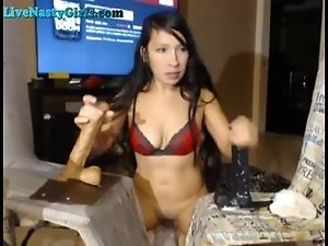Webcam Girl Gets Bukkake From Toys
