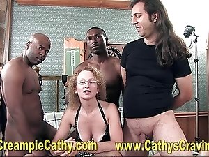 Creampie Cathy and her Sloppy Interracial GangBang