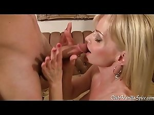 Horny MILF loves to swallow hard cock for the camera