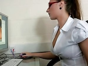 Super sweet british brunette office fuck