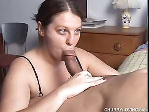 Big tits BBW loves to suck cock and eat cum