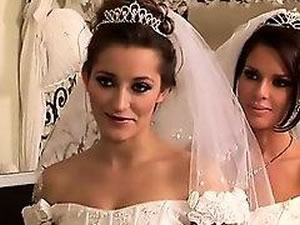 Two lesbian brides fuck on the eve of the wedding